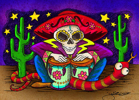 Day of the Dead Bongos by Julie Oakes