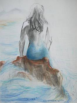 Decision - Mermaid Tryptic 3 by Jennifer Christenson