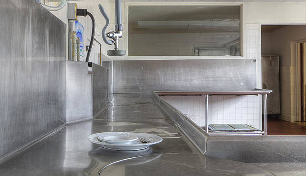 Dish Washing Area Of Commercial Kitchen by Douglas Orton