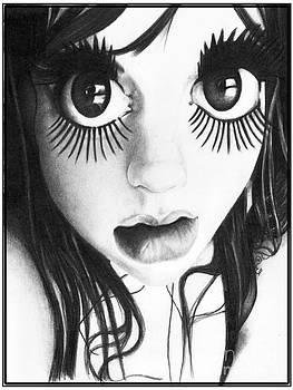Doll Face Original Pencil Drawing by Debbie Engel