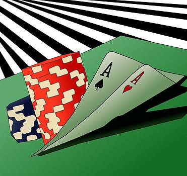 Double Aces Wild Casino Hand by Casino Artist
