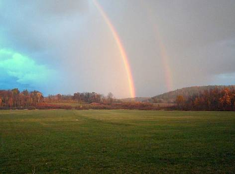 Double Rainbow in the valley by Mark Haley