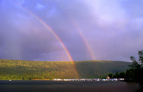 Double Rainbow Over 7 Points Marina Raystown Lake by L Granville Laird