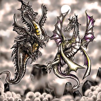 Dragons Clash At Olympus by Steve Farr