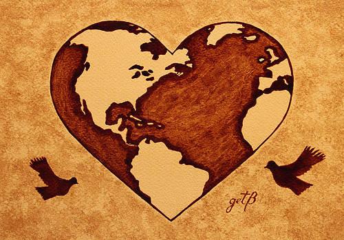 Earth Day Gaia Celebration coffee painting by Georgeta  Blanaru