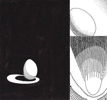 Egg Drawing 089709 by Phil Burns