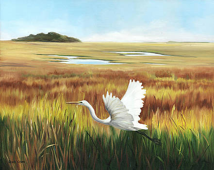 Egret In Flight by Glenda Cason