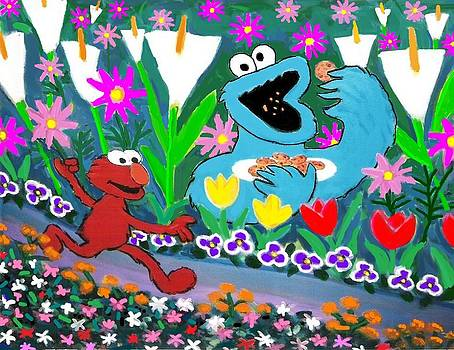 Elmo and the Cookie Monster by Frank Strasser