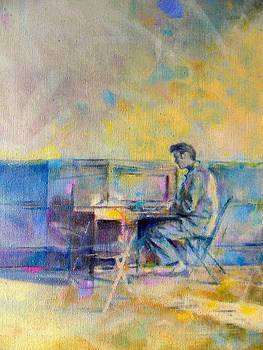Elvis at the piano by Rik Ward