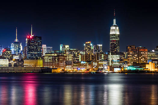 Empire State Building and Midtown manhattan at Night by Val Black Russian Tourchin