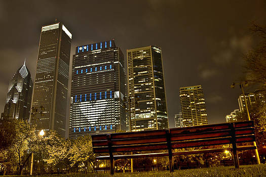 Empty Park Bench City Night Lights by Jeramie Curtice