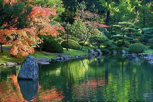 Fall Reflections Japanese Gardens by Vicki Hone Smith