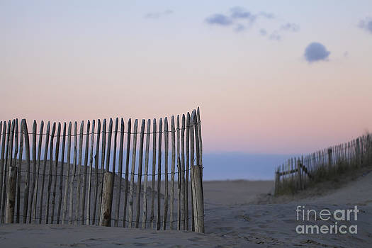 LHJB Photography - Fence at beach with sunset colors