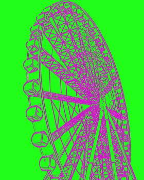 Ramona Johnston - Ferris Wheel Silhouette Green Purple