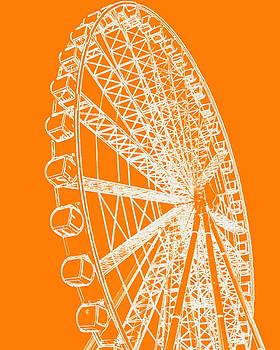 Ramona Johnston - Ferris Wheel Silhouette Orange White