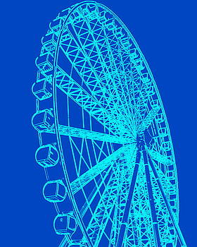 Ramona Johnston - Ferris Wheel Silhouette Turquoise Blue