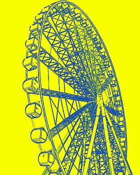 Ramona Johnston - Ferris Wheel Silhouette Yellow Blue