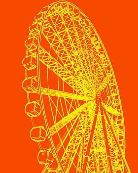 Ramona Johnston - Ferris Wheel Silhouette Yellow Orange