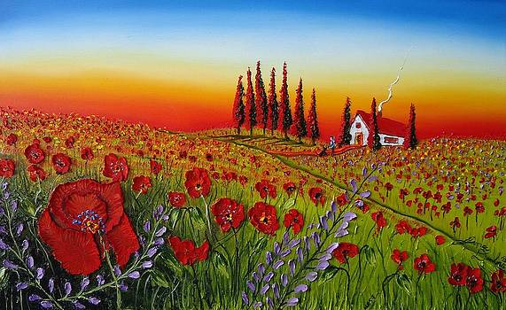 Field Of Red Poppies At Dusk by Portland Art Creations