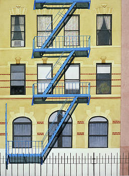Fire Escape Blue Yellow by Michiyo Fukushima