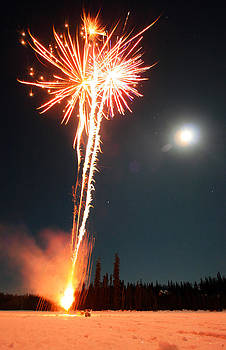 Fireworks And Moon by Wyatt Rivard