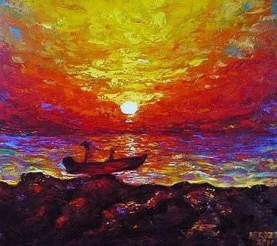 Fishermen with Sunset by Ericka Herazo
