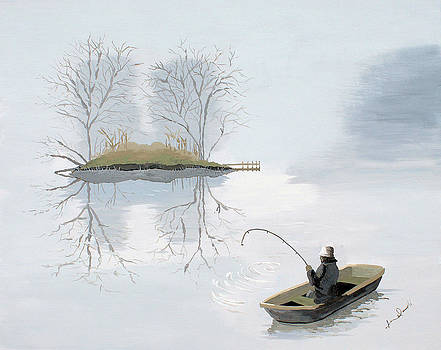 Fishing In The Mist by Jennifer  Donald