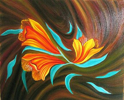 Floral friendship-Abstract painting by Rejeena Niaz