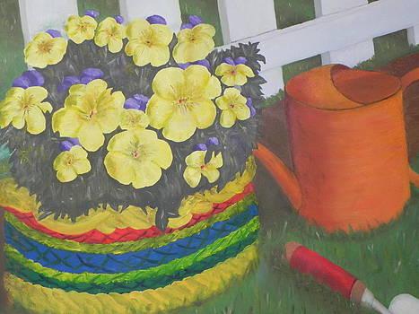 Flower Basket in Garden by Ernie Goldberg