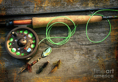 Sandra Cunningham - Fly fishing rod with polaroids pictures on wood