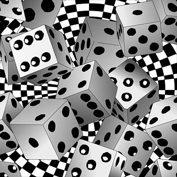 Flying Casino Dice by Casino Artist
