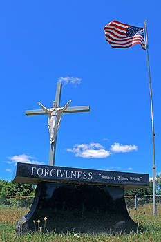 Forgiveness Jesus on Cross Statue With American Flag by Jeramie Curtice