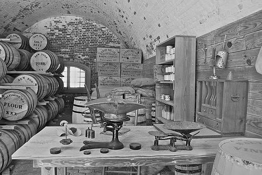 Michael Peychich - Fort Macon supply room BW 9071