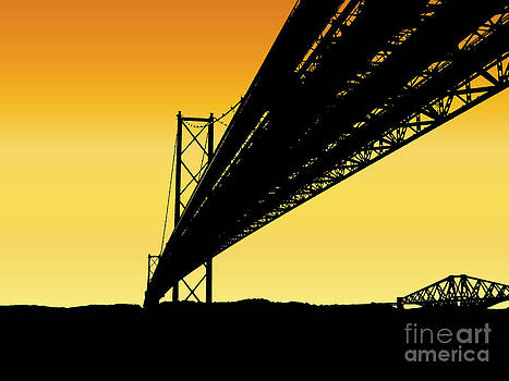 Forth Bridges Silhouette by Yvonne Johnstone