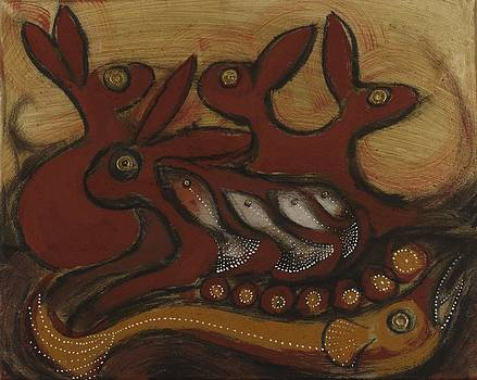 Four Hares by Sophy White