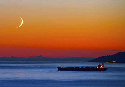 Freighter Sunset by David Bruce Gammie