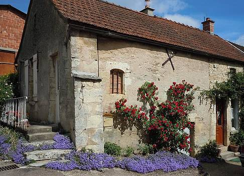 Marilyn Dunlap - French Medieval House With Flowers