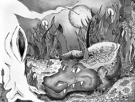 Full Moon Gator in Black and White by Ryan D Merrill