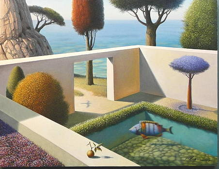 Garden with Red Cypress by Evgeni Gordiets