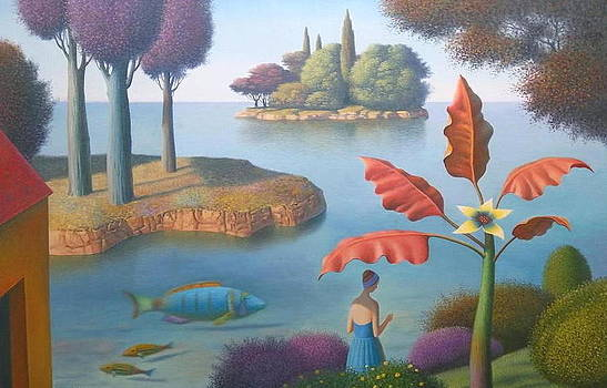 Garden with Yellow Flower by Evgeni Gordiets