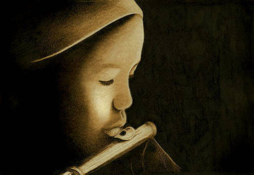 Girl Playing Flute by Cate McCauley