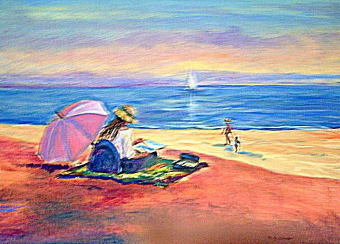 Girl Reading on the Beach by Holly LaDue Ulrich