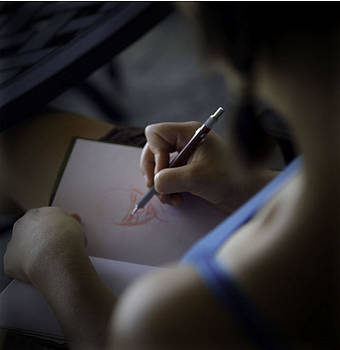 Girl Sketching by Walt Stoneburner