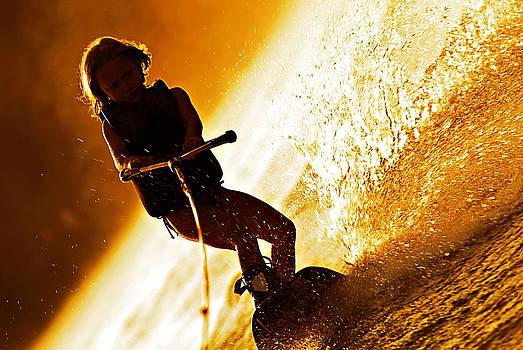 Girl Wakeboarding Silhouette by Susan Leggett