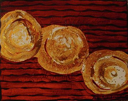 Gold Breasts Abstract by Dede Shamel Davalos