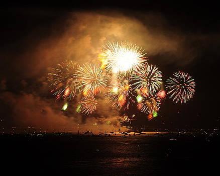 Golden Gate Bridge 75th Anniversary Fireworks by Pamela Rose Hawken