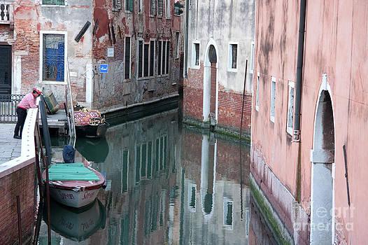 Gondolier overlooking Rio de S. Anzolo Venice Italy by Julia Hiebaum