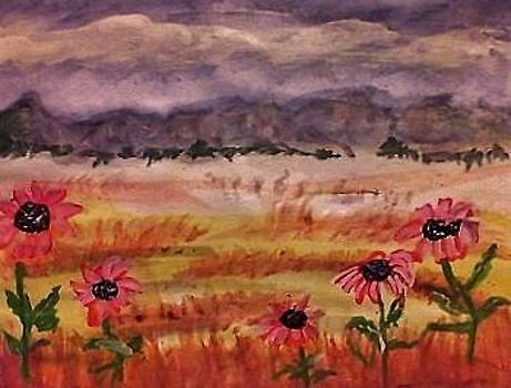 Grasslands with Sunflowers by Anna Lewis