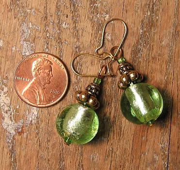 Green Glass Bead and Brass Bali Bead Earrings by Elizabeth Carrozza