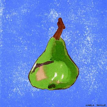 Green Pear on Blue by Marla Saville